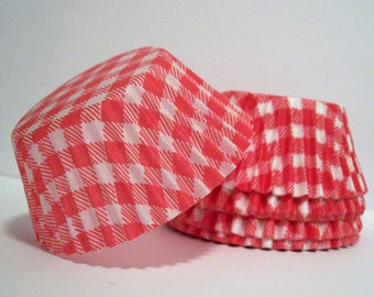 Red Gingham Cupcake Liners- Choose Set of 50 or 100