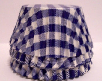 Blue Gingham Cupcake Liners- Choose Set of 50 or 100