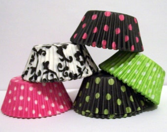 100 Lime,Pink and Black Print Cupcake Liner Assortment