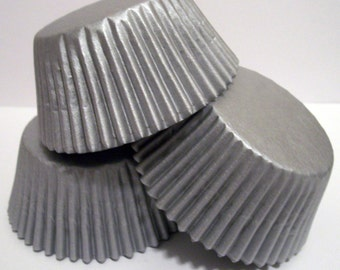 Paper Silver Cupcake Liners- Choose Set of 50 or 100