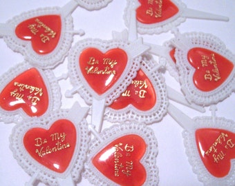 12 Red Lacy Heart Cupcake Picks
