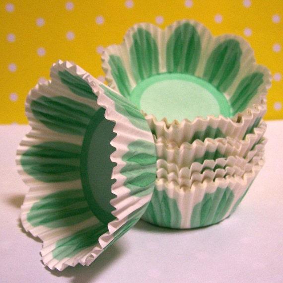 Green Tulip Pastel Cupcake Liners- Choose Set of 50 or 100