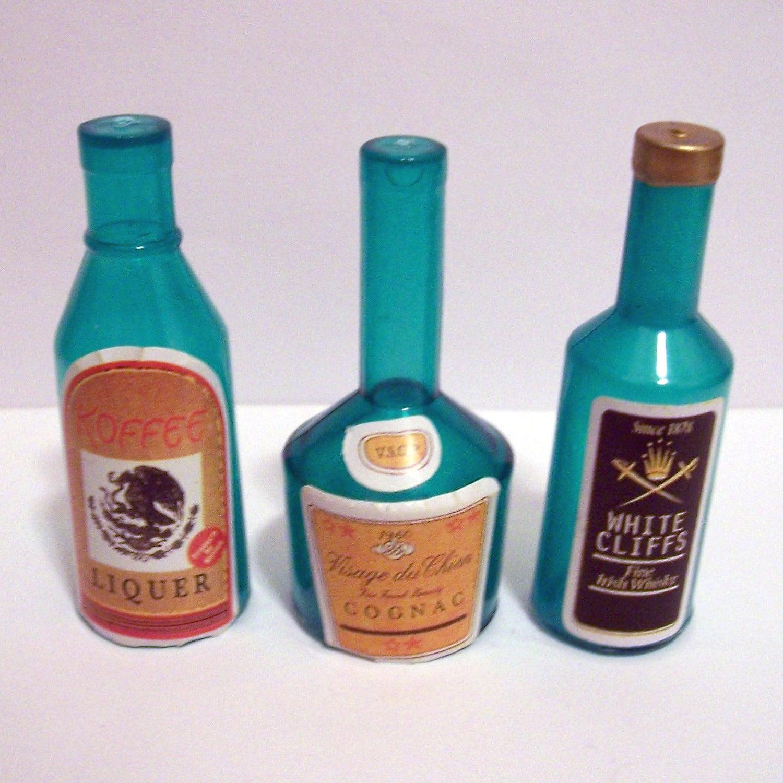 6 Miniature Liquor Bottle Cake Toppers