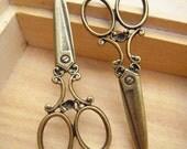 2pcs R21835 Antique Bronze Scissors Pendant Charm Drop
