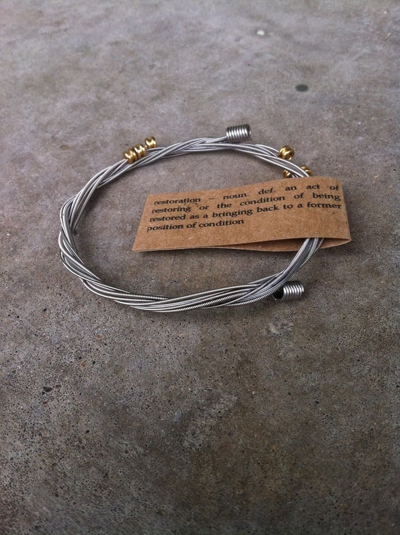 Recycled Guitar Strings - Restored Guitar String SILVER Color SLIM Bracelet