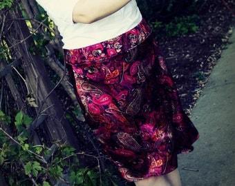 Fashion Pencil Skirt, burgundy paisley, knee length, custom made to order, sizes XS, S, M, L