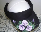Women's Sport Visor with hand painted Pink Cottage Roses