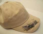 Women's Beige BaseBall Cap with painted nautical Row Boat
