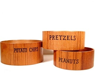 Wood Snack Bowls - Vintage Set - Potato Chips, Pretzels, and Peanuts - Custom Mustache Print Liners Reversible and Washable - Mint Green