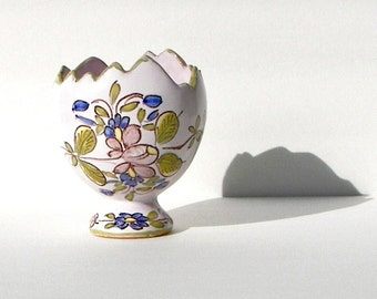 Succulent Planter - Small Pedestal Planter - Vintage Handmade French Pottery - 1972 - Hand Painted Egg Cup Vase