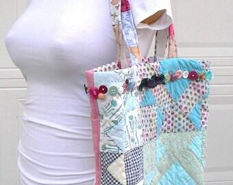 Tote Bag, Shopping Tote, Book Bag, Weekend Bag - Re Purposed Vintage Quilt and Notions - Handmade - OOAK