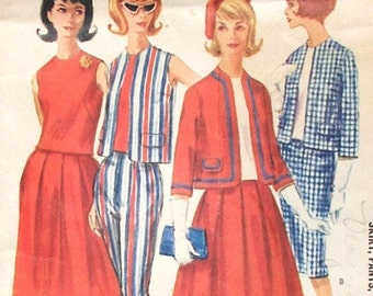 """Vintage McCall's Pattern 6144 - Jacket, Pencil Skirt, Pleated Skirt, Skinny Pants, Blouse -  Dated 1961 - Size 12, Bust 32"""""""
