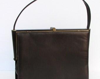 Vintage Leather Handbag - Nicholas Reich Brown Leather Purse - 1960's Modern Kelly Bag
