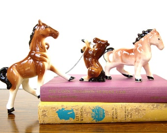 Vintage Horse Figurines - Ceramic - Made in Japan - 1960's - Collectible Set of Three Horses