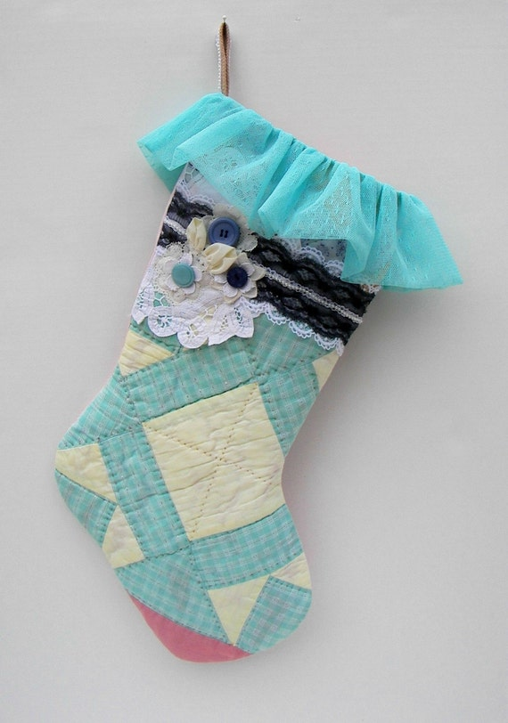 Christmas Stocking - Handmade Using Vintage Quilt and Trim - OOAK - Shabby Chic, Aqua, Yellow, and Lavender with Pink Backing