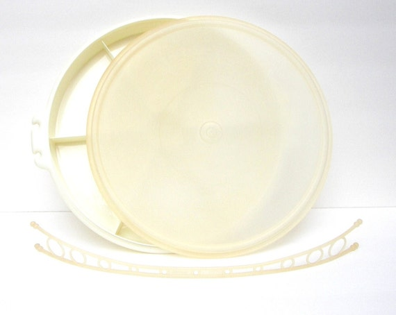 Vintage Tupperware Party Susan - Covered Divided Tray, 3 Piece Complete Set
