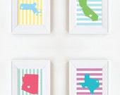 5 x 7 State Prints Custom