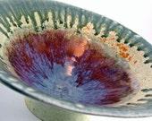 Bowl Porcelain / Ceramic Decorative Bowl / Hand Built / Colorful Ash Glaze / 910