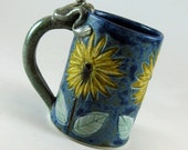 Large Blue Mug / Pottery Coffee Tea Mug / Porcelain / Sunflowers / Daisies / Frog / 626