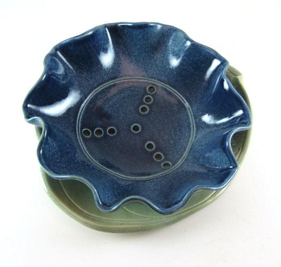 Ceramic Berry Bowl Blue / Berry Bowl Colander / Berries / Blue Bell  / Leaf Plate / Leaf Tray / 569