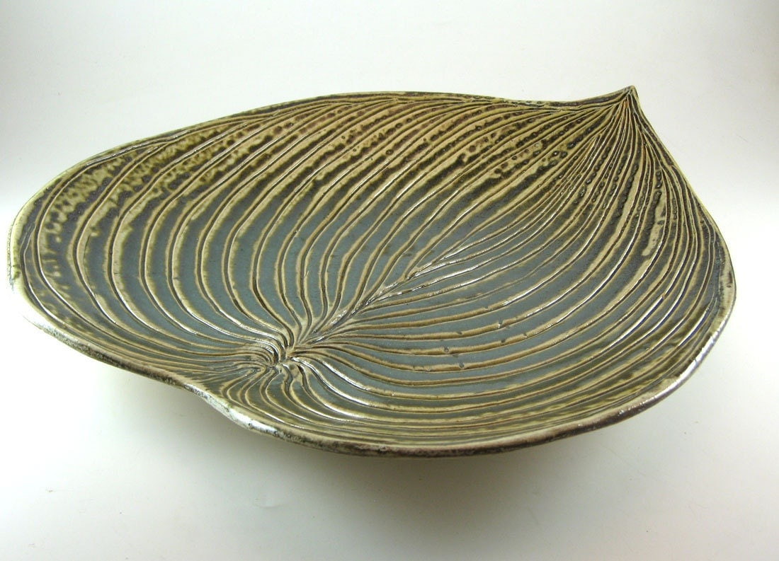 Ceramic Platters Pottery Hosta Leaf Serving Platter Tray