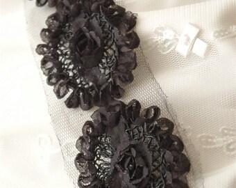 Black Rosette ruffled Trim with Inset Soutache Swirls- 1 yd 21 flowers