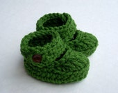 3-6 Months Baby Strappy Booties, crocheted, green