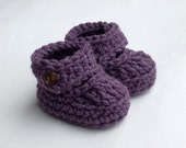 3-6 Months Baby Strappy Booties, crocheted, dusty purple