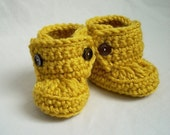 6 to 9 or 9 to 12 Months Baby Bootie Boots, crocheted, mustard yellow