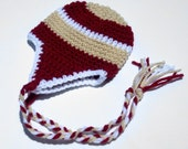 6 to 9 or 9 to 12 Months Baby Earflap Beanie, crocheted, red, tan, white