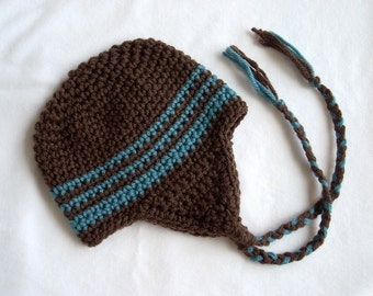 15 Choices Available, Baby Earflap Beanie, Baby Hat, Baby Crochet Hat