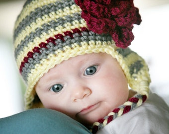 ON SALE, Baby Earflap Beanie, Baby Hat, Baby Beanie, Crochet Baby Hat