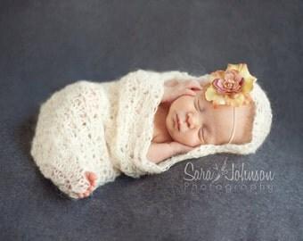 Baby Cocoon, Newborn Photo Prop, cream, lacy, pod