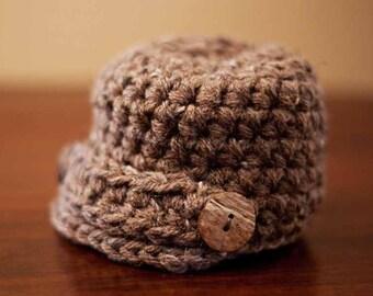 CHRISTMAS IN JULY Sale! Baby Newsboy Beanie, Newborn Photo Prop, Baby Hat, Crochet Baby Hat