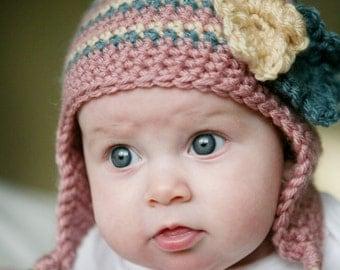 14 Choices Available, Baby Earflap Beanie, crochet