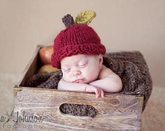 Baby Apple Hat, Newborn Photo Prop, Crochet Apple Hat, Baby Fruit Hat