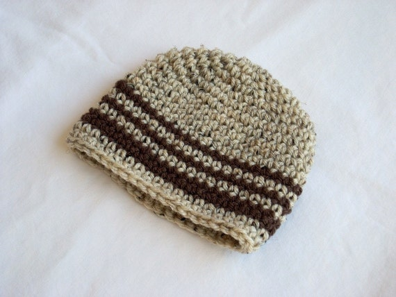 0-3 Months Baby Beanie, crocheted, oatmeal, brown