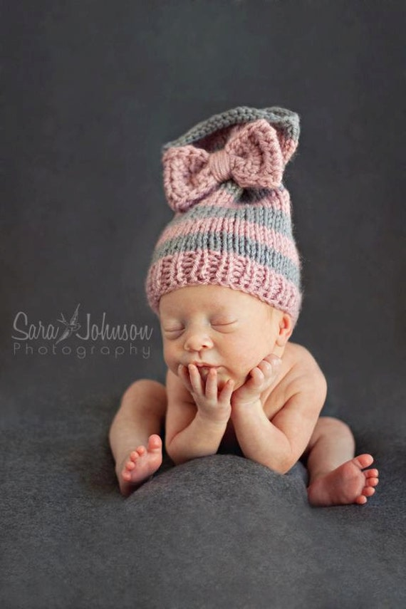 Baby Girl Bow Tied Hat, Newborn Photo Prop, Baby Hat, Baby Knit Hat