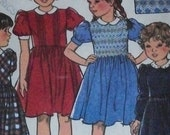 1989 Girls Smocked Dress Pattern Sizes 2 3 4