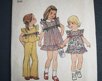 Girls Play Dress Top Bell Bottom Pants Vintage 1970s Simplicity Pattern 7320 Size 3