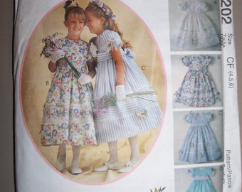 Girls Dress with Petticoat Sash Headband Sz 4 5 6 McCalls 9202 Kitty Benton 1998
