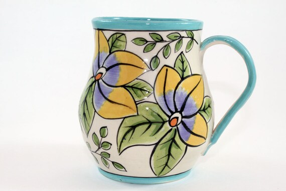 Handmade Pottery Turquoise Rimmed Mug, Coffee Mug, Handpainted Stoneware Mug