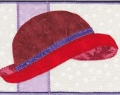 Red Hat Quilted Fabric Postcard