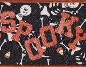 Spooky Halloween Quilted Fabric Postcard