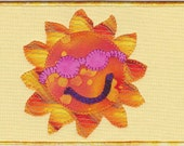 Here Comes the Sun Fabric Postcard