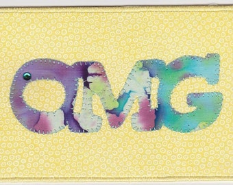 OMG Quilted Fabric Postcard