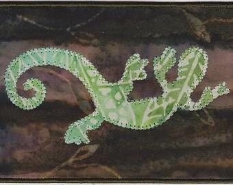 Fabric Postcard Chameleon Lizard Gekko