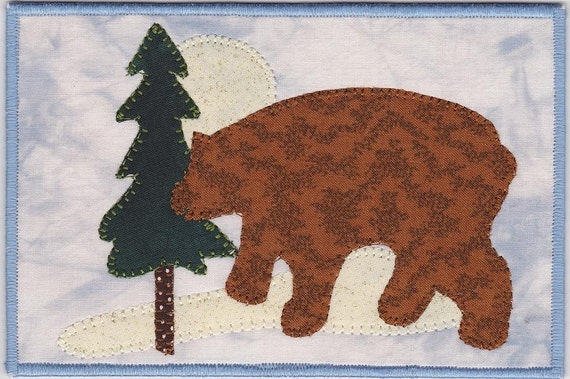 Bear in the Woods Fabric Postcard