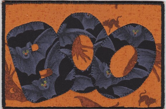 Boo, A Halloween Quilted Fabric Postcard