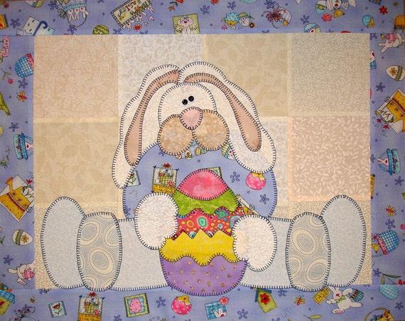 Easter Bunny Appliqued Quilt Block